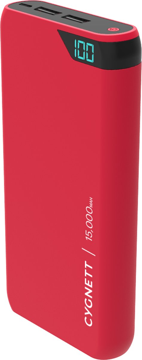 Cygnett Powerbank 15000mAh ChargeUp Boost 2.4A Red