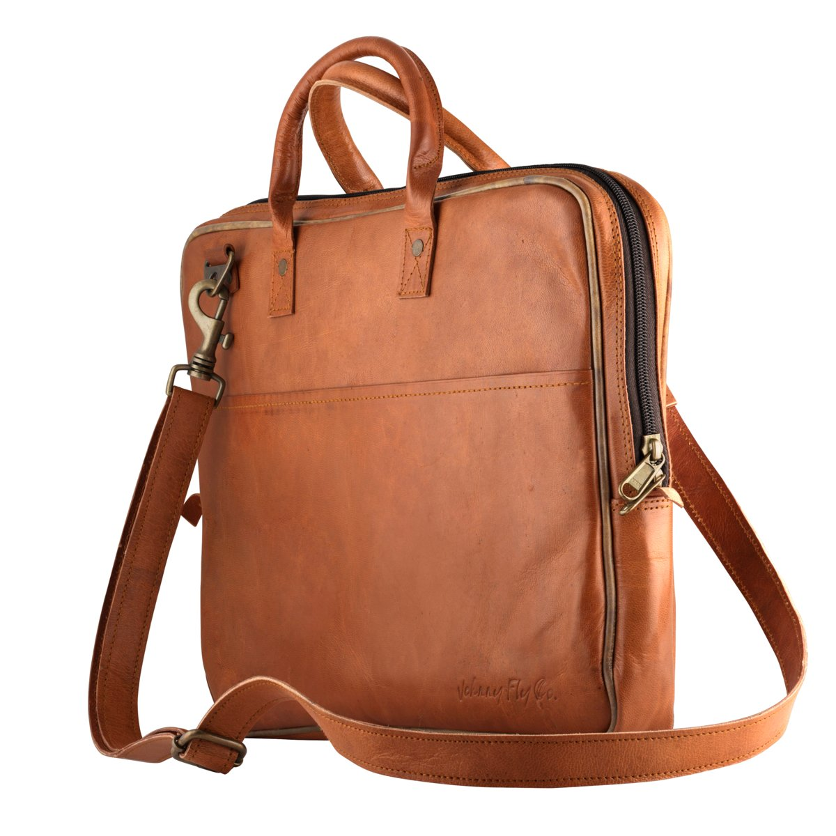 Johnny Fly Leren Laptop Tas - bruin - ecologisch