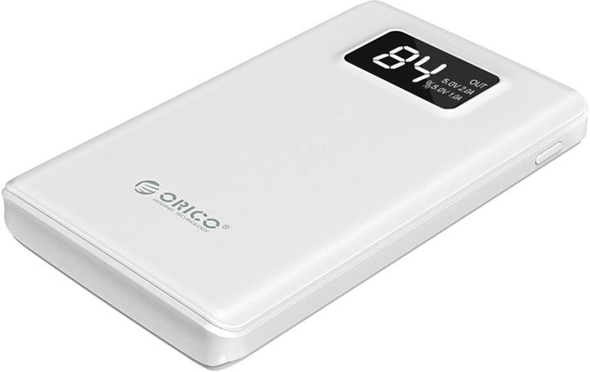 Orico Powerbank 12000mAh - Smart Charge - LED-display - wit