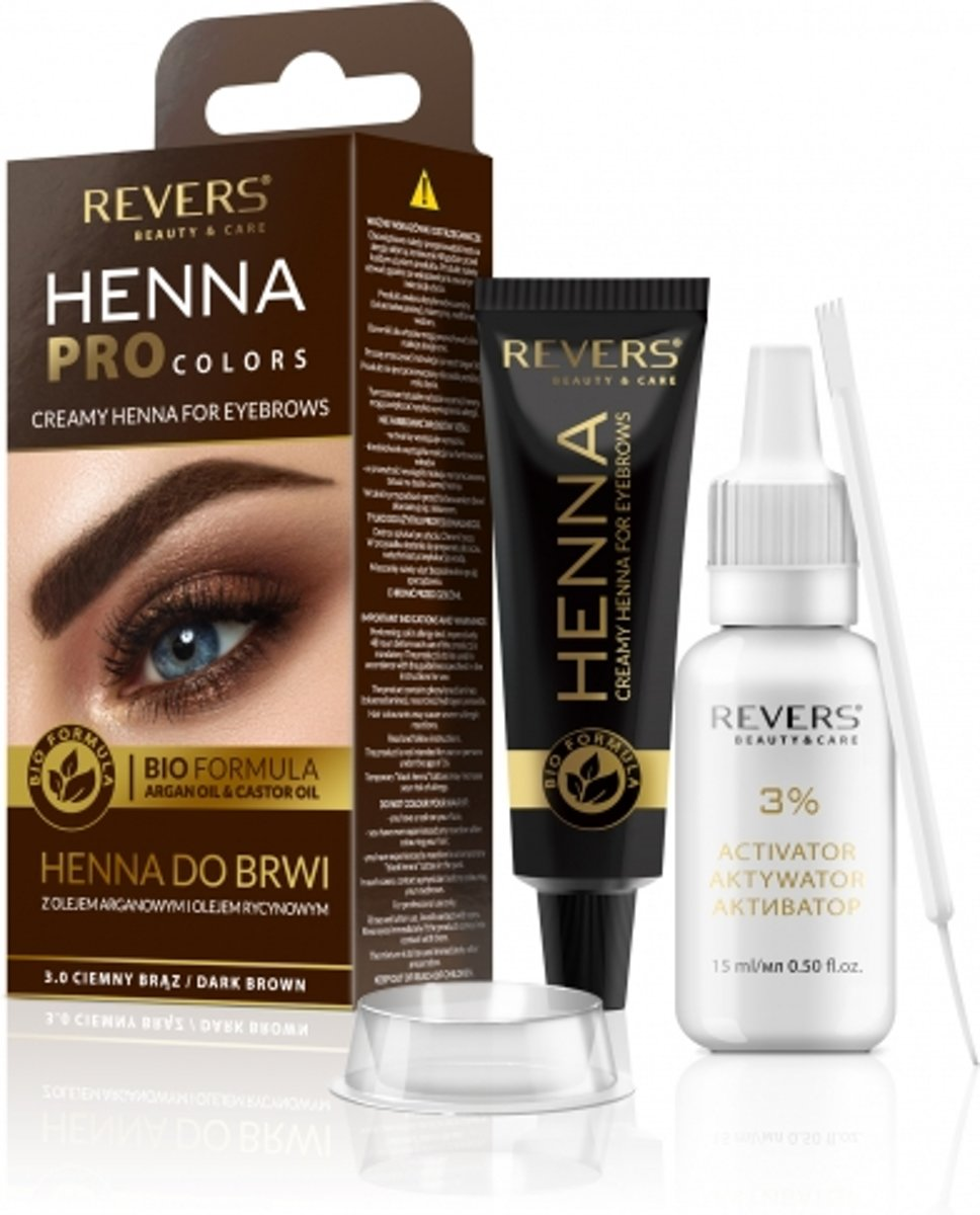 REVERS® Eyebrow Henna Pro Colours Dark Brown 15ml.+15ml.
