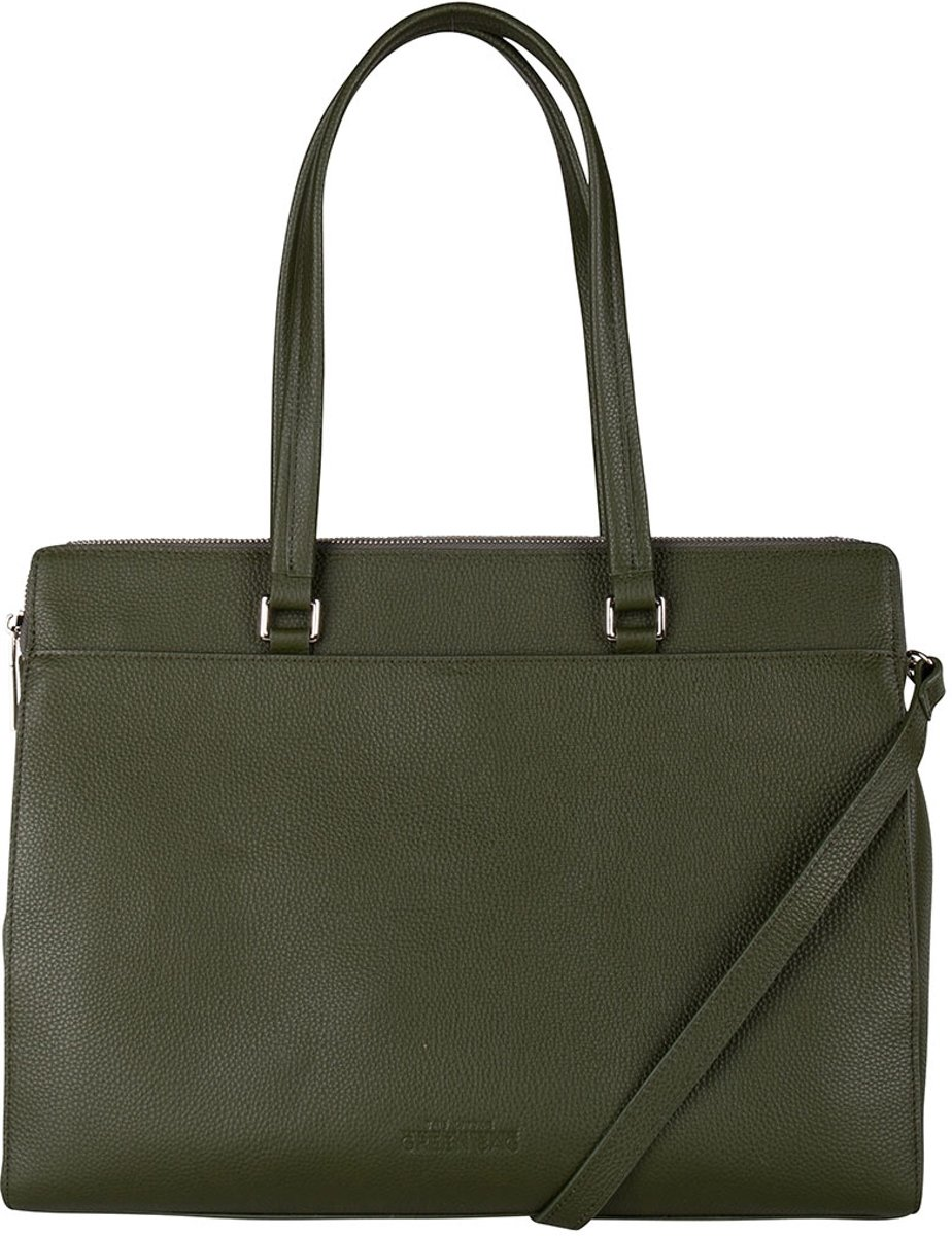 The Little Green Bag Schoudertassen Lorelei Laptop Tote 15.6 Inch Groen