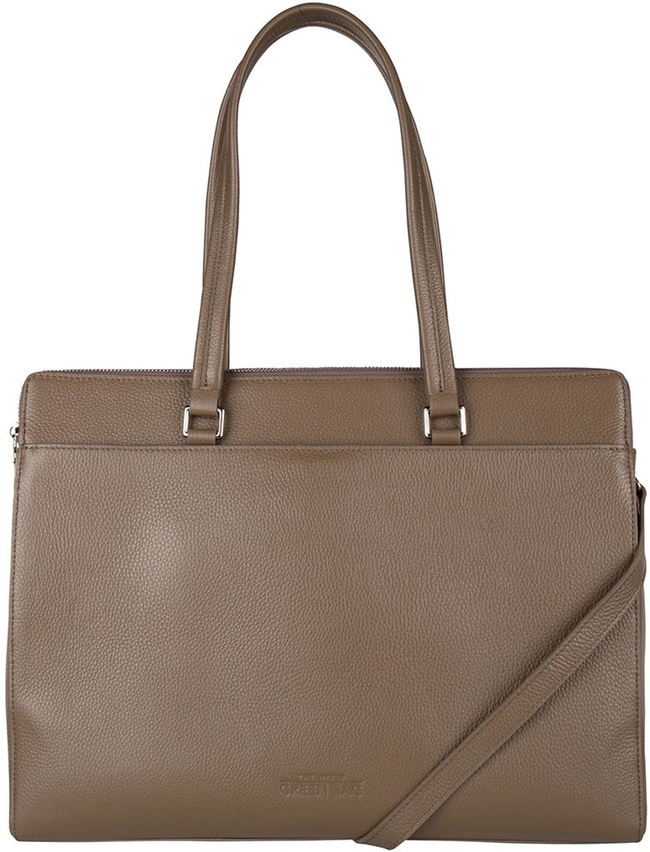 The Little Green Bag Schoudertassen Lorelei Laptop Tote 15.6 Inch Taupe