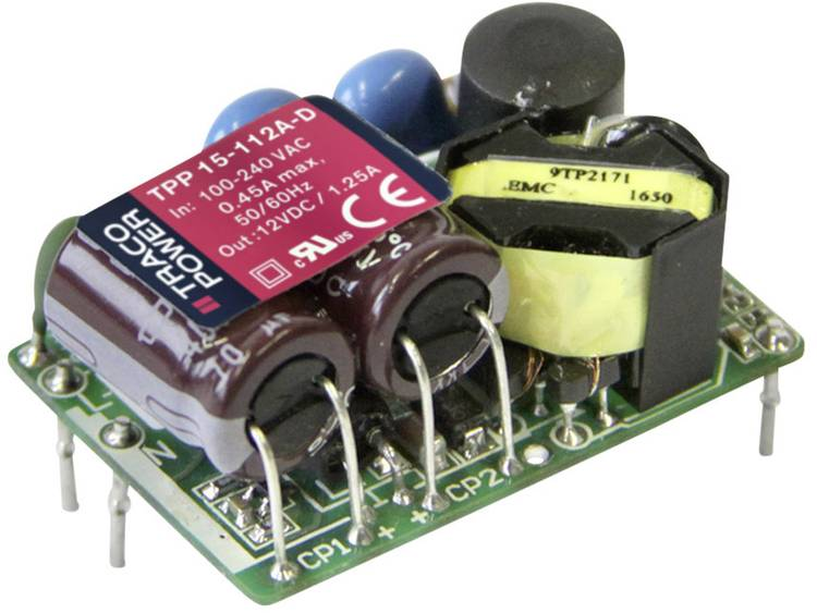 AC/DC inbouwnetvoeding open TracoPower TPP 15-115A-D +15.0 V/DC 1000 mA