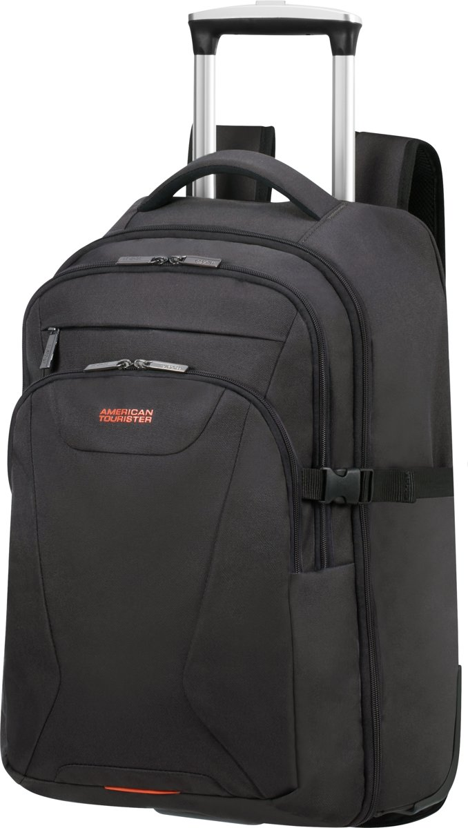 American Tourister Laptoptrolley - At Work Laptop Backpack op wielen 15.6 inch(Handbagage) Black/Orange