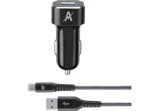 CELLULAR-LINE Car Charger Kit 15 Watt USB-C SS Tetra Force Zwart