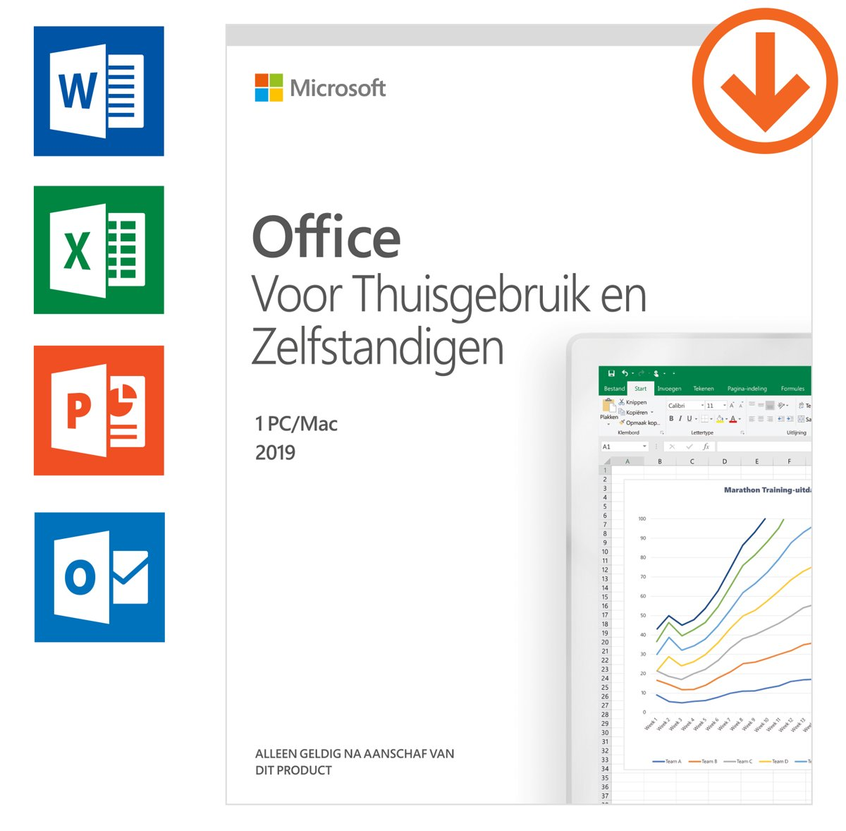 Microsoft Office 2019 Home & Business - Eenmalige aankoop (download)