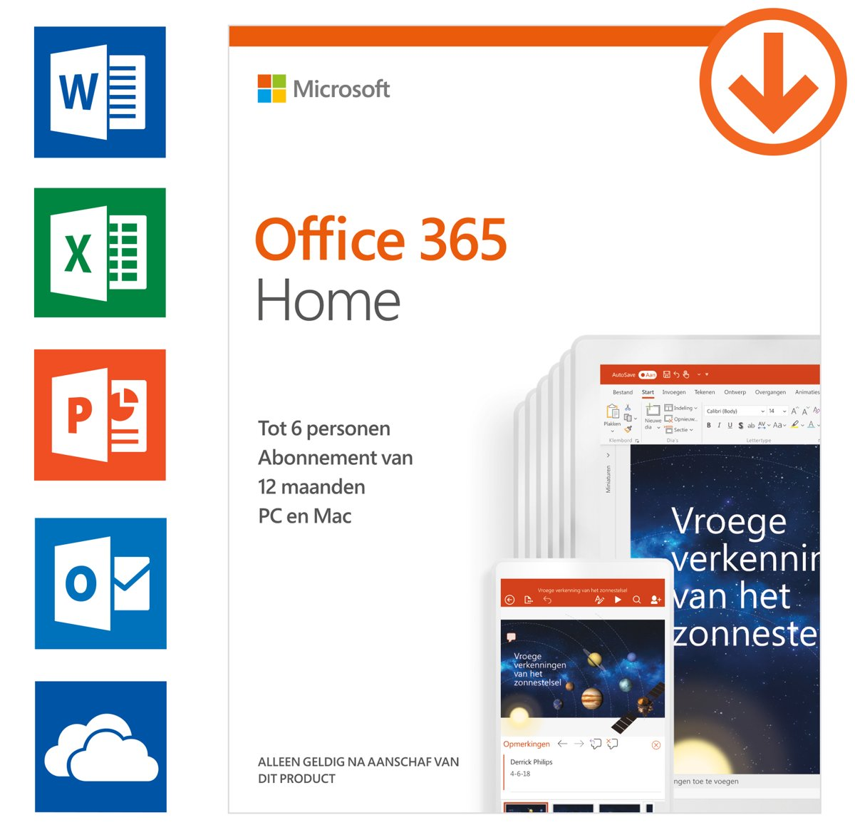 Microsoft Office 365 Home - 1 jaar abonnement (download)