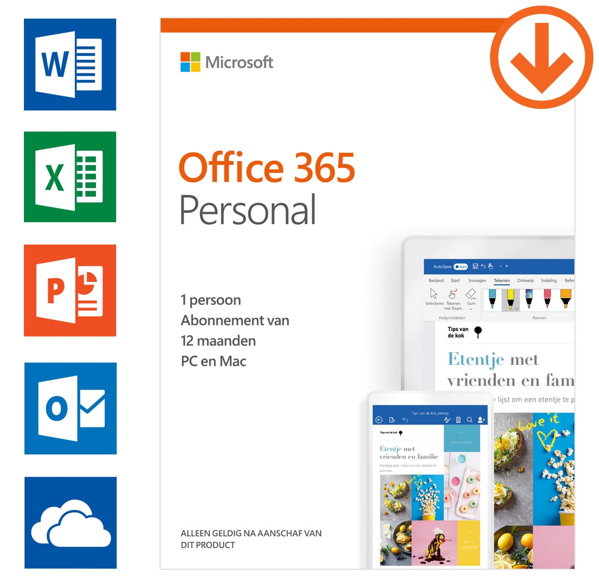 Microsoft Office 365 Personal - 1 jaar abonnement (download)