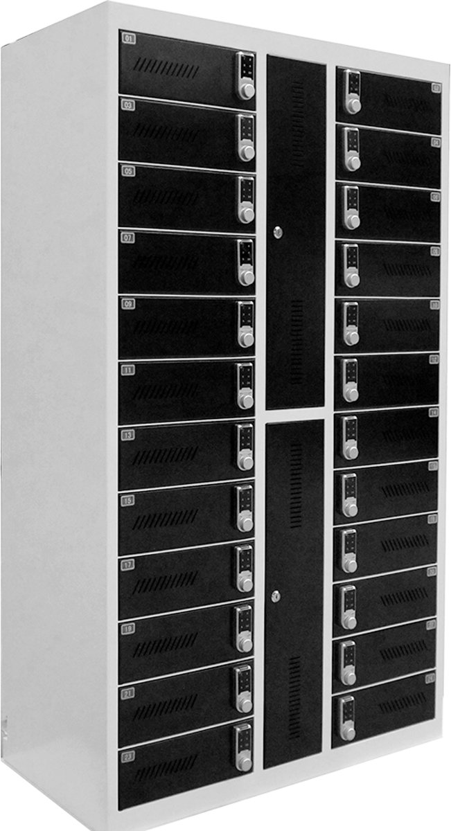 Safelock Laptopkast - Oplaadbare lockerkast met cijferslot - 24 laptops of tablets