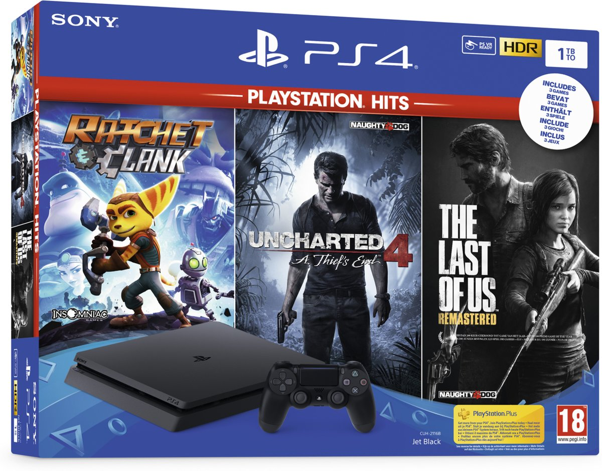 Sony PlayStation 4 Slim Console - incl. Ratchet and Clank & The Last of Us Remastered & Uncharted 4 - 1 TB
