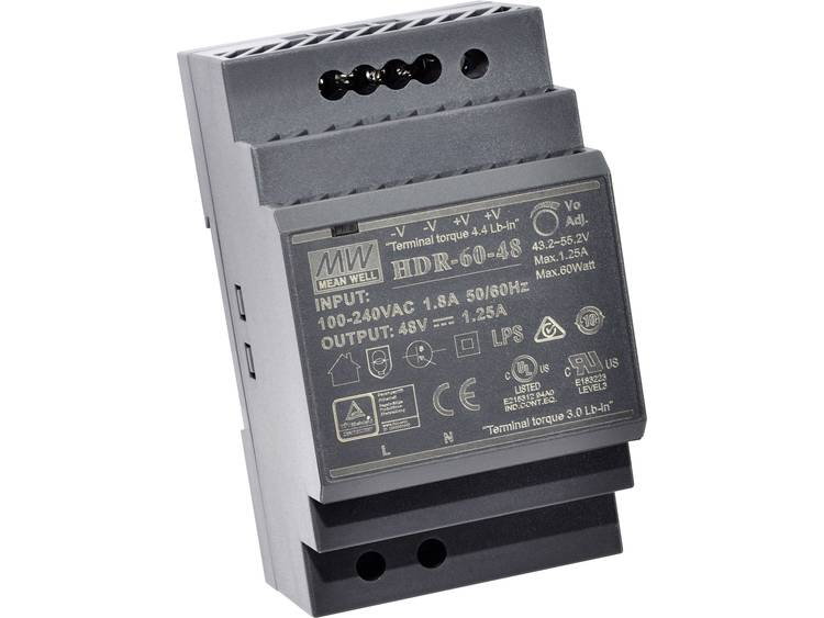 Mean Well HDR-60-5 DIN-rail netvoeding 5 V/DC 6.5 A 32.5 W 1 x