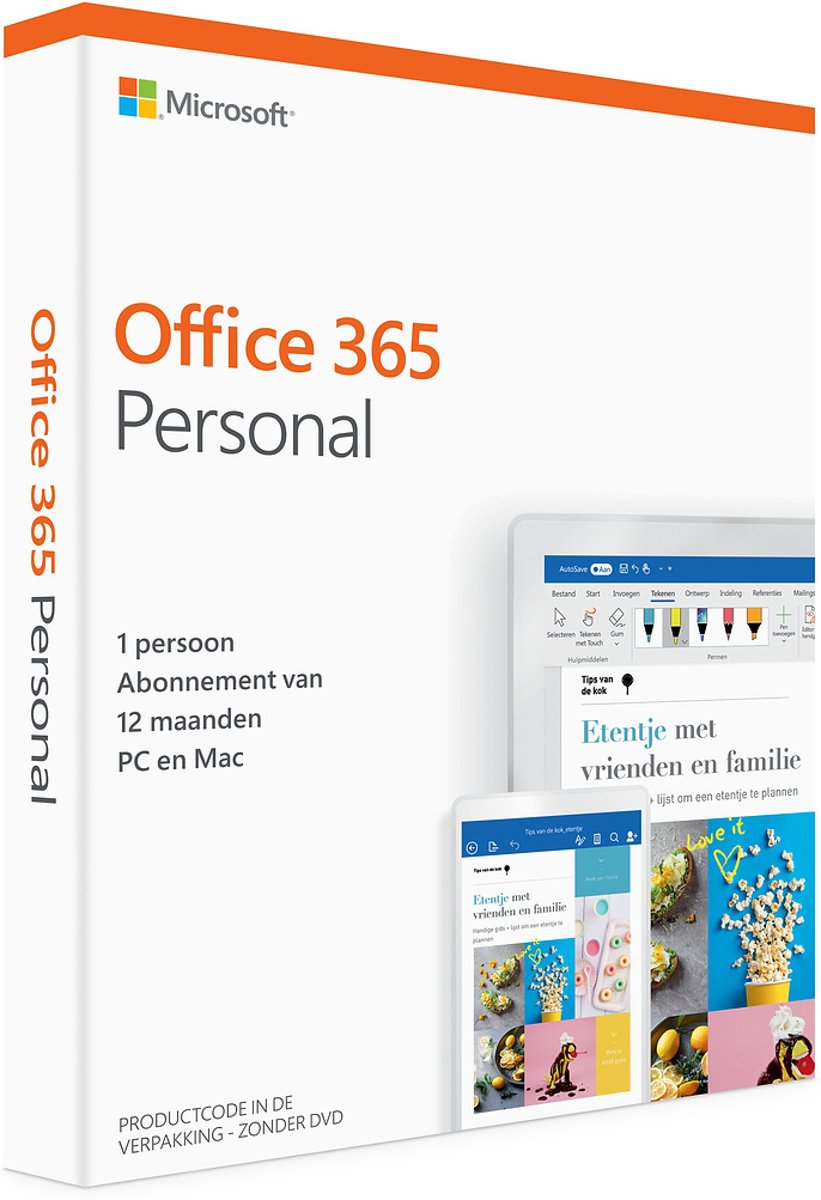 Microsoft Office 365 Personal (abonnement van 12 maanden; 1 persoon , 1 MAC / 1 PC )