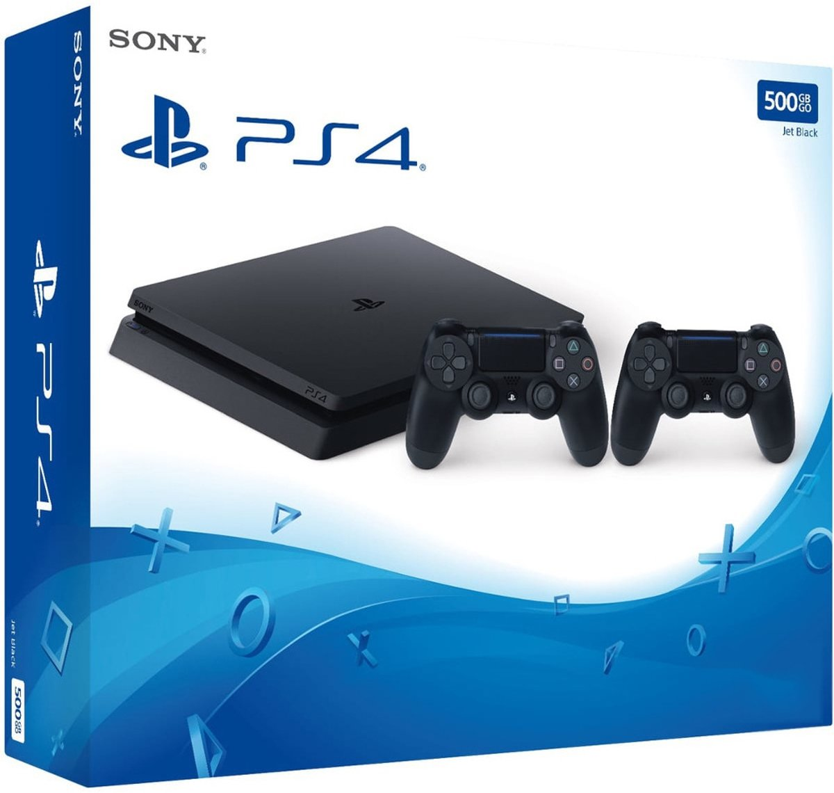 Sony PlayStation 4 Slim Console 500GB + 2 Wireless Dualshock 4 Controller V2 - Zwart PS4 (Import)