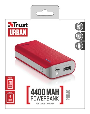 Trust Primo PowerBank 4400 Portable Charger -red powerbank
