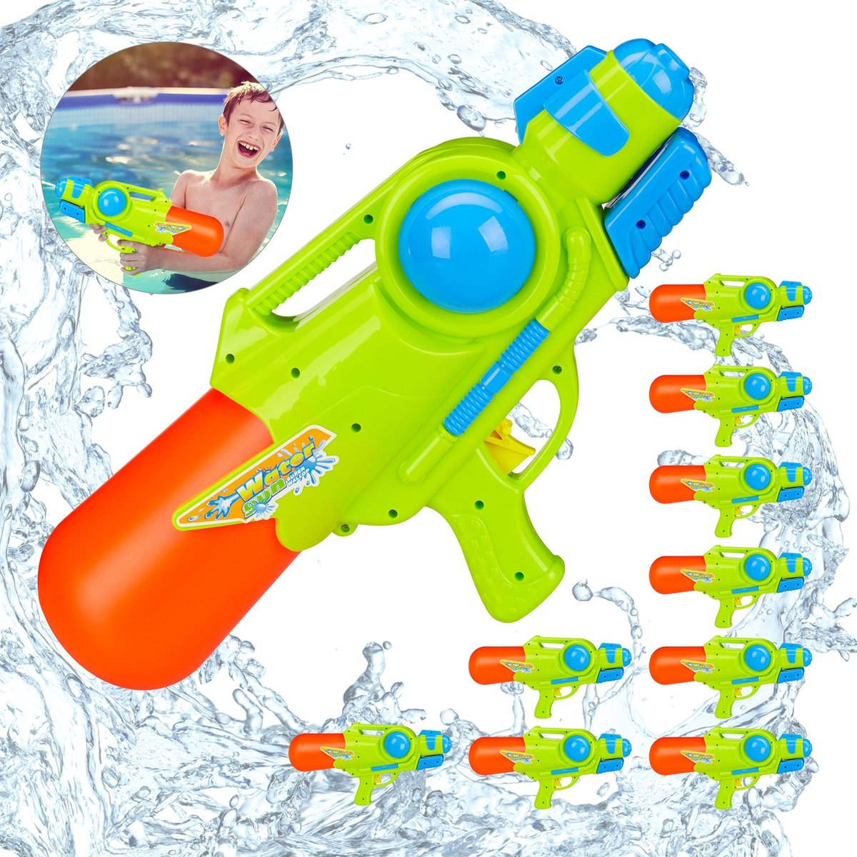 relaxdays 10 x waterpistool - super soaker kinderen - water gun - 1 liter reservoir