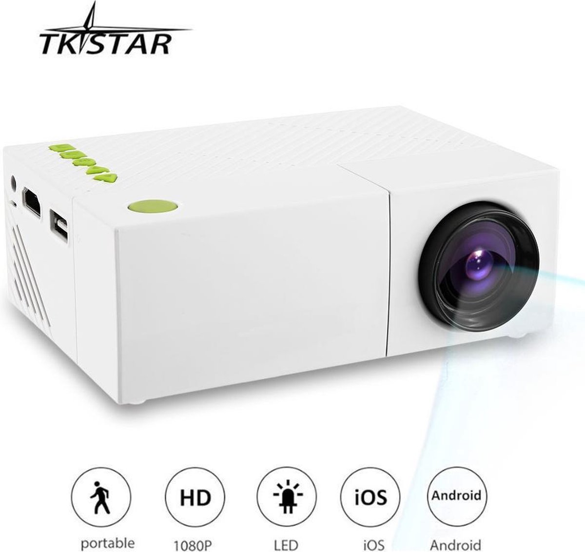 TKSTAR Draagbare LED Zak Projector Beamer Met Oplaadbare Batterij USB / AV / HDMI TV Box Ondersteunen Flash Drive PC Laptop Film Videogame