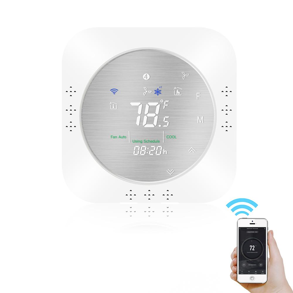 Geekcreit® 24V WiFi Smart warmtepomp Thermostaat Temperatuurregelaar Smart Life / Tuya APP Afstandsbediening Werkt met Alexa Google Home