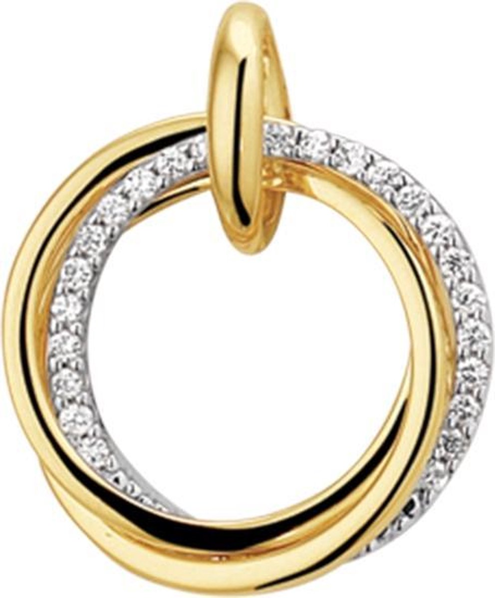 The Jewelry Collection Hanger Diamant 0.12ct H Si - Bicolor Goud