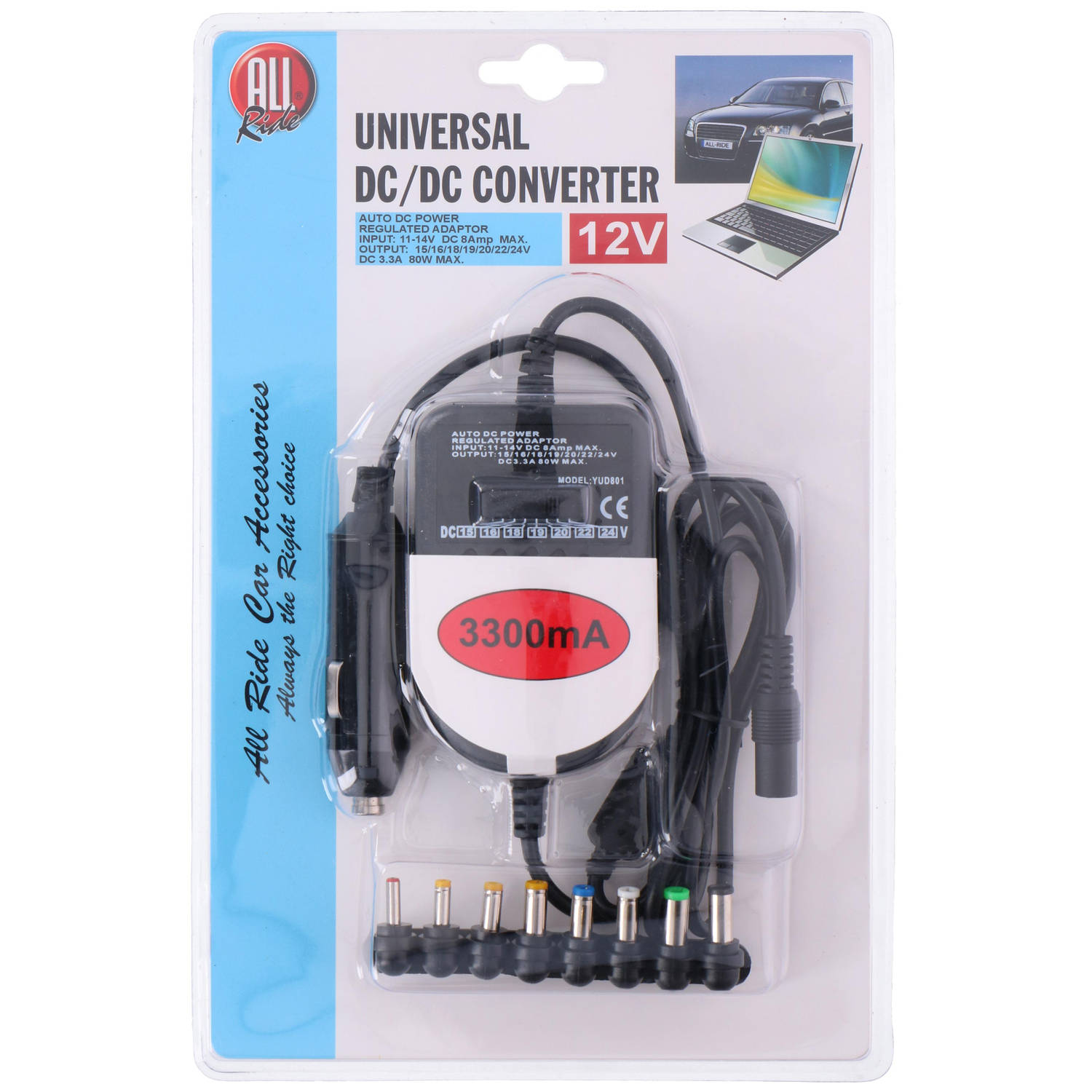 All Ride Omvormer Laptop - Universeel - 12v - 3300ma