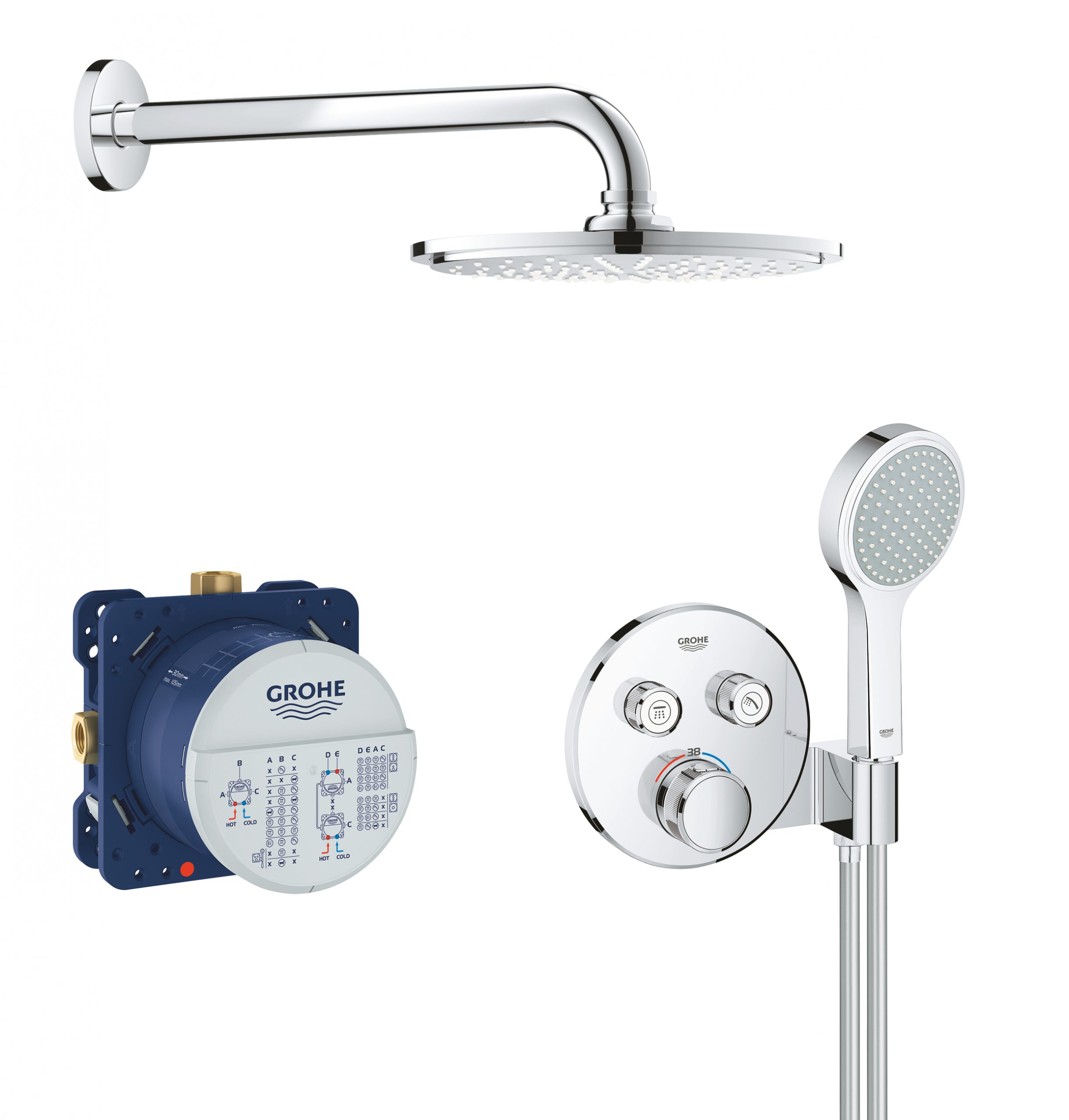 GROHE Grohtherm SmartControl Perfect doucheset rond met QuickFix, chroom