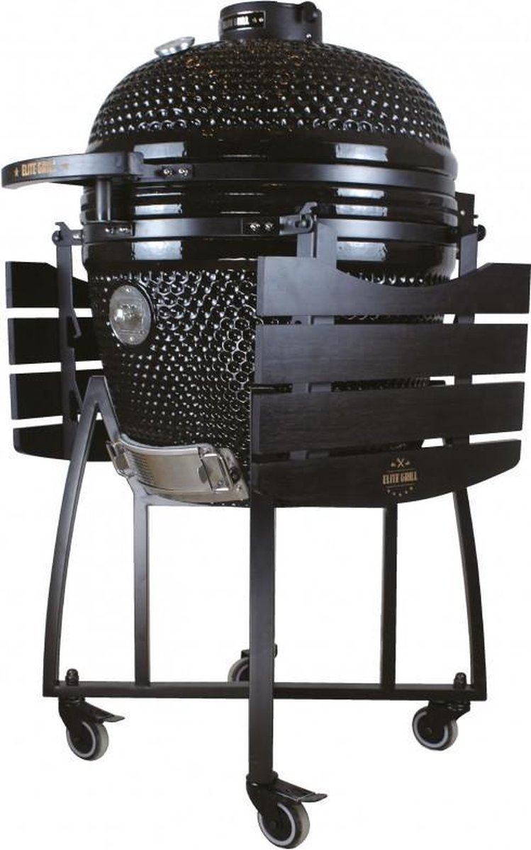 EliteGrill 55 cm - (21 inch) Black Limited Edition Deluxe BBQ met regenhoes - Barbeque - Kamado