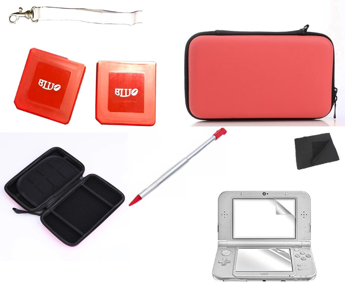 Nintendo 3DS Player's Pack - 8 in 1 Accesoires kit - Rode Case - Screen Protector & meer !
