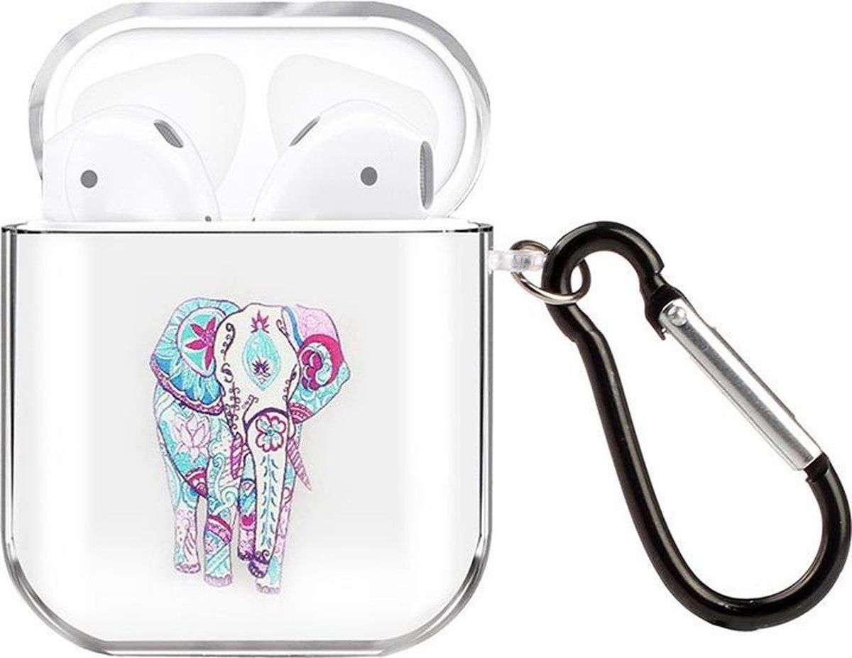 By Qubix - AirPods 1/2 hoesje Painting series - hard case - Olifant - Schokbestendig - AirPods hoesjes